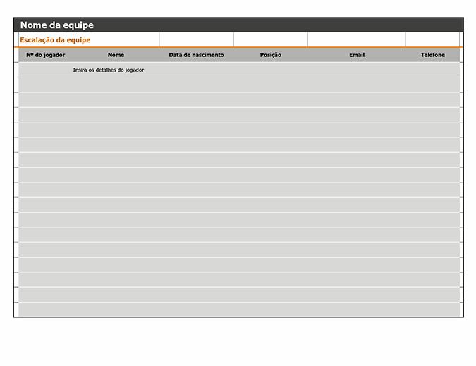 Lista de participantes do time, agenda e calendário