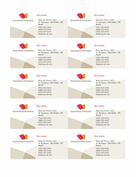 Cartão de visita financeira (10 por página)