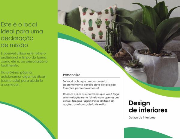 Folheto de design de interiores