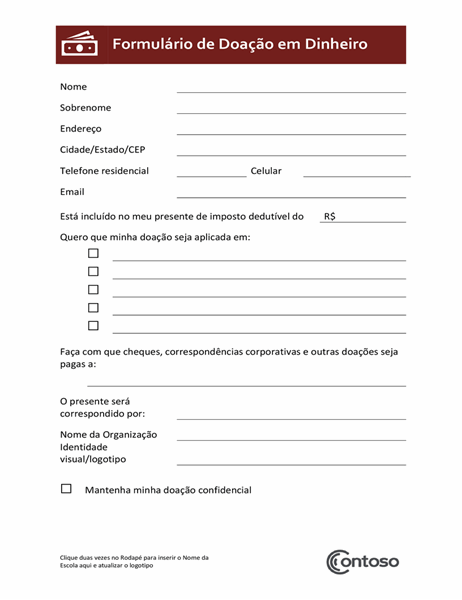 Formulário de doação em dinheiro