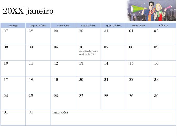 Calendário acadêmico ilustrado