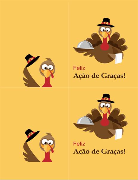 Cartão de ação de graças com um peru alegre