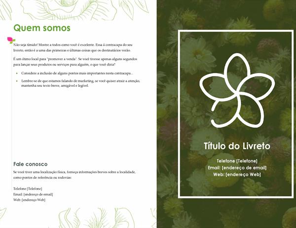 Livreto floral verde
