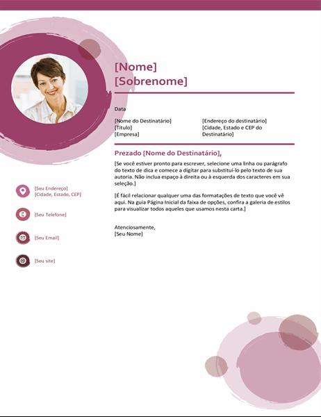 Carta de apresentação com tema conjunto rosa
