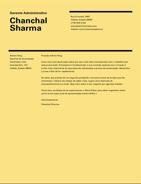 Carta de apresentação de design suíço