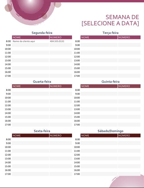 Calendário de compromissos em conjunto rosa