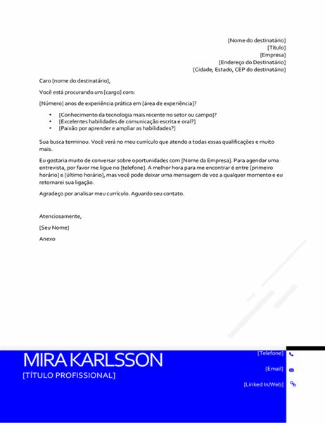 Carta de apresentação moderna invertida