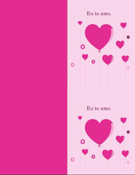 Cartão de Dia dos Namorados com balões em forma de corações