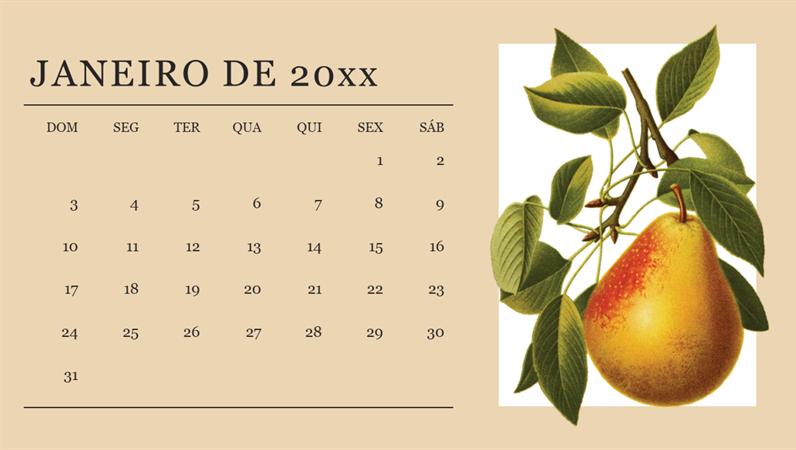 Calendário mensal botânico