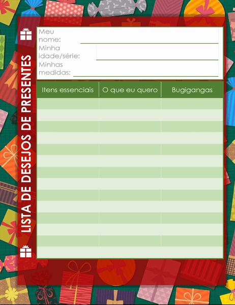 Lista de desejos de Natal para crianças