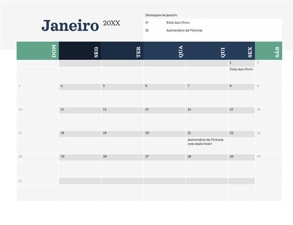 Calendário moderno com eventos e datas importantes em destaque