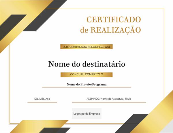Certificado de premiação formal
