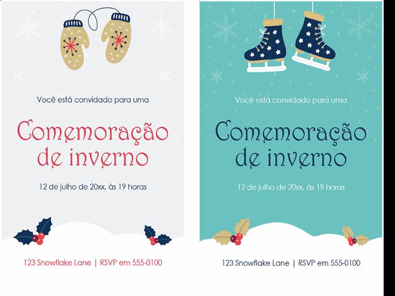 Convites para festas de fim de ano de inverno