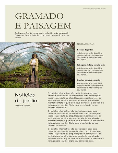 Boletim informativo sobre paisagismo