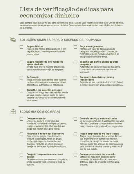 Lista de verificação de dicas para economizar dinheiro