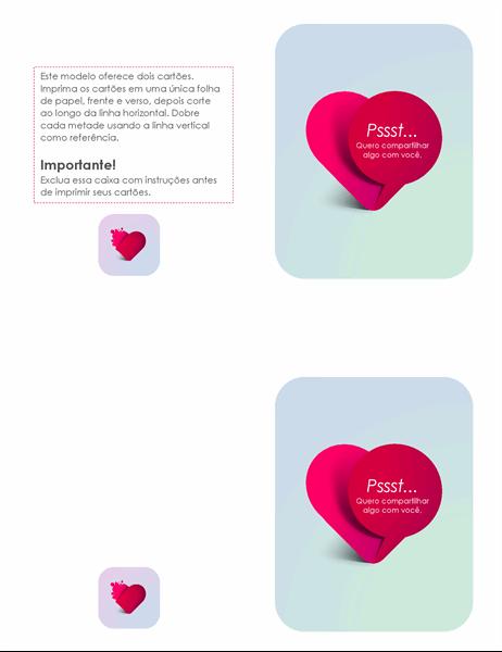 Cartão de Dia dos Namorados Admirador Secreto