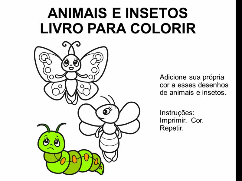 Livro de colorir de animais e insetos