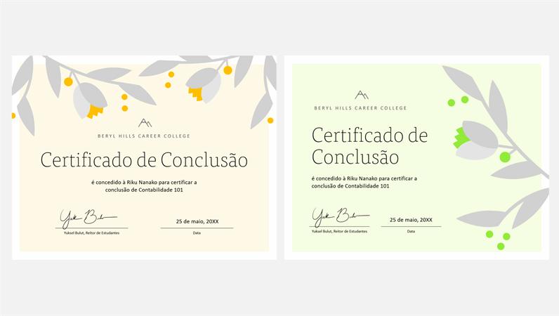 Certificado de conclusão com galho florescente
