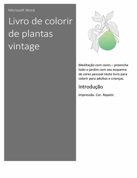 Livro de colorir de plantas vintage