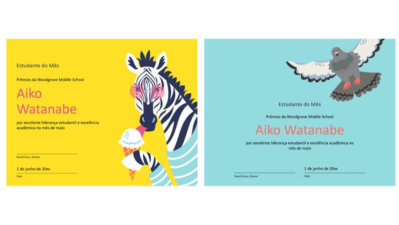 Certificado estudantil de animais em blocos de cores