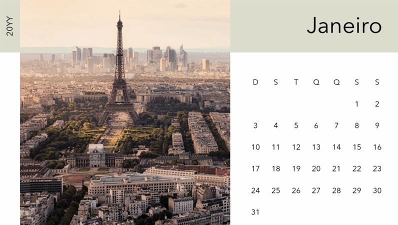 Calendário fotográfico de paisagem urbana