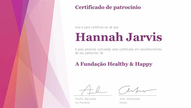 Certificado de reconhecimento colorido