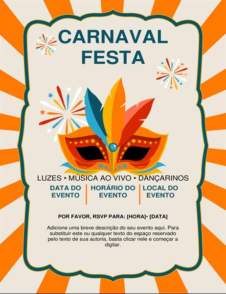 Panfleto com máscara de carnaval