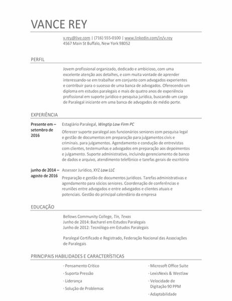 Currículo de assistente paralegal