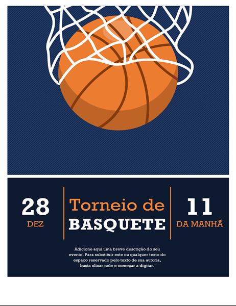 Panfleto de torneio de basquete