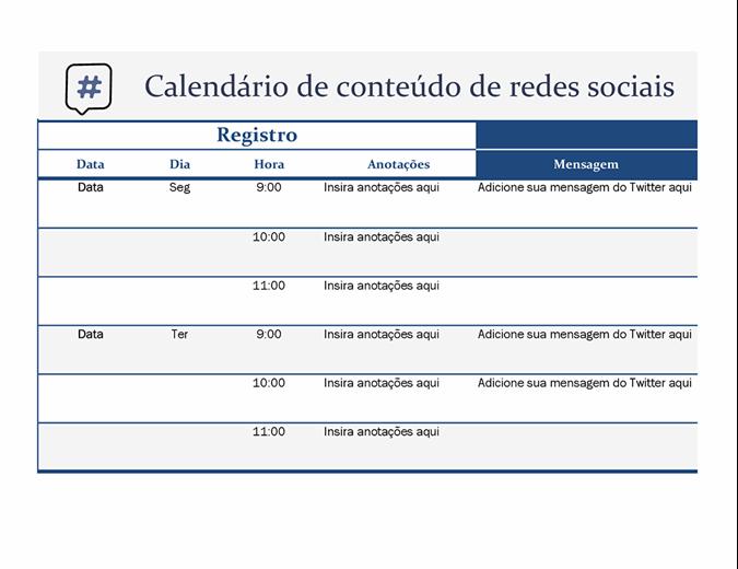 Calendário de conteúdo de mídia social