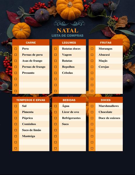 Lista de compras de Ação de Graças da natureza