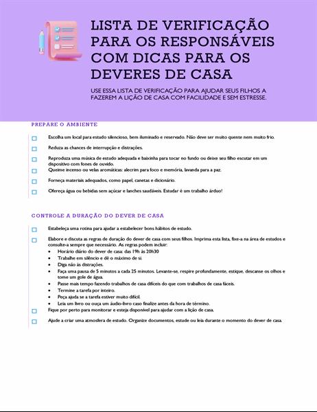 Lista de verificação com dicas para o dever de casa