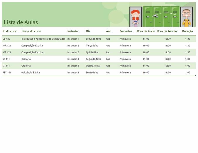 Calendário semestral