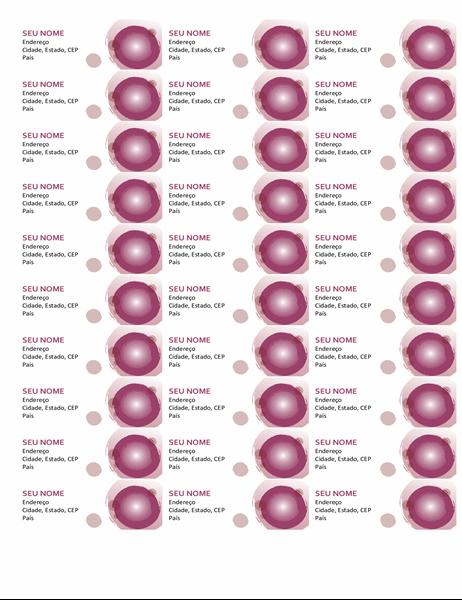 Conjunto rosa de etiquetas (30 por página)
