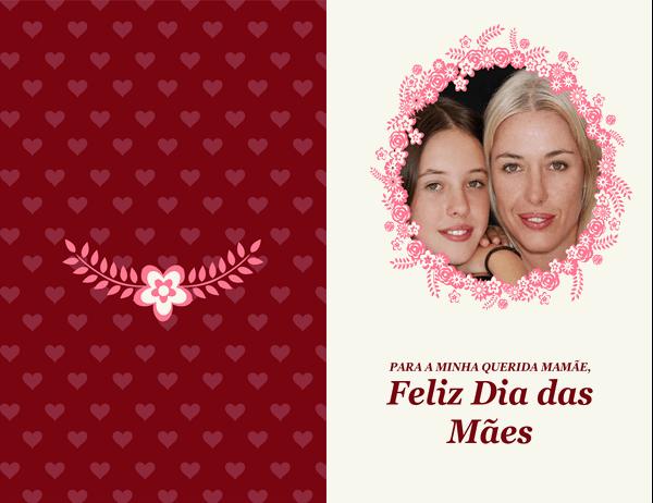 Cartão de Dia das Mães com moldura floral