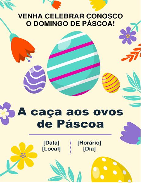 Panfleto com cores da primavera de caça aos ovos de Páscoa