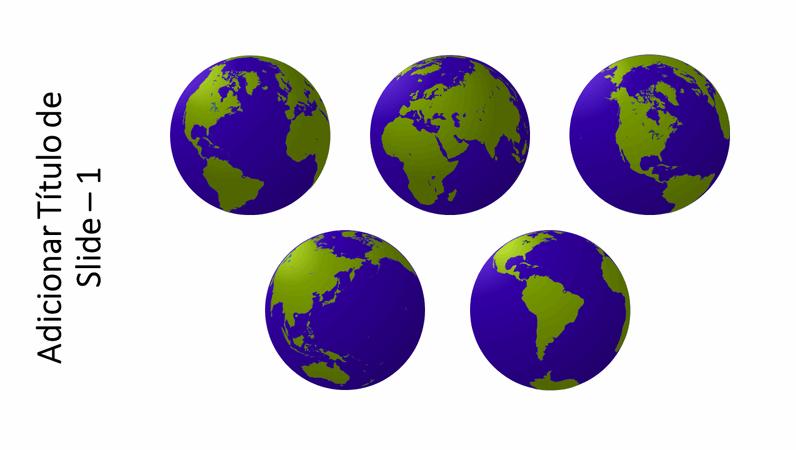 Elemento gráfico com cinco exibições de globo
