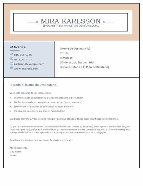Carta de apresentação com colunas
