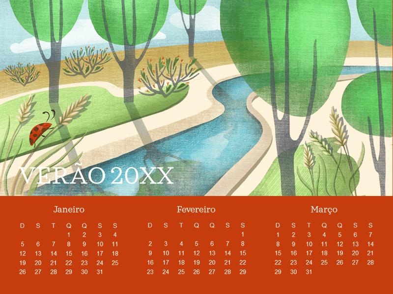 Calendário trimestral de joaninha