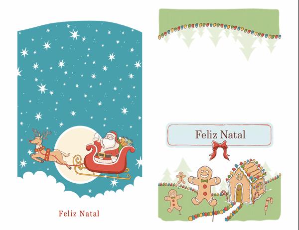 Cartões de Natal com Papai Noel e Pão de Especiarias