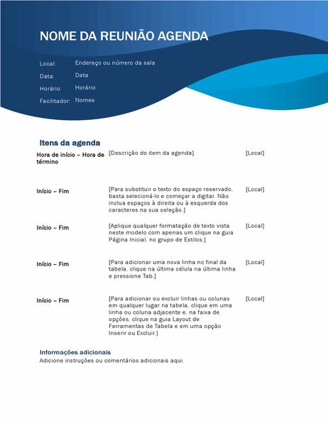 Agenda de reunião com curvas azuis