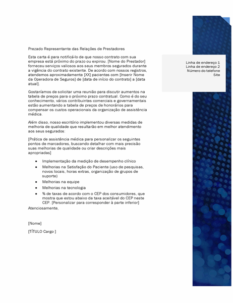 Carta de relações com prestadores de cuidados de saúde