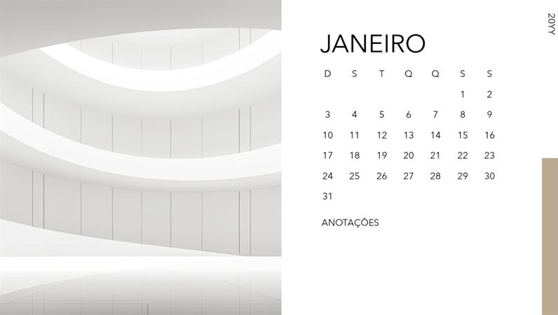 Calendário de fotos de arquitetura