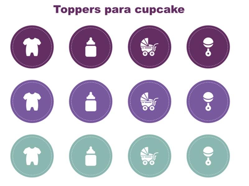 Toppers de cupcake para chá de bebê