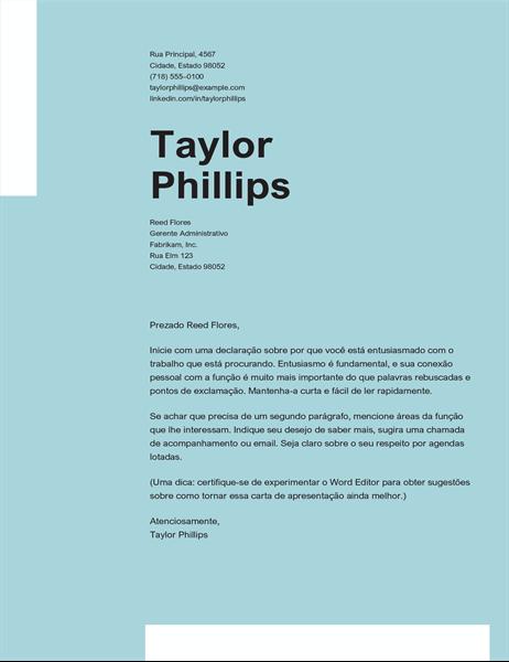 Carta de apresentação elegante