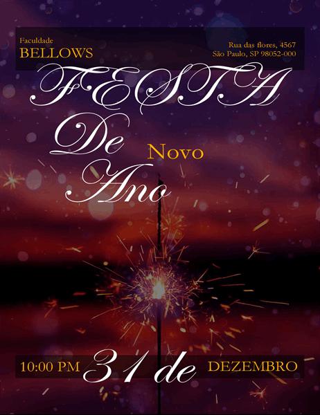 Folheto de Véspera de Ano Novo de Vela Estrela