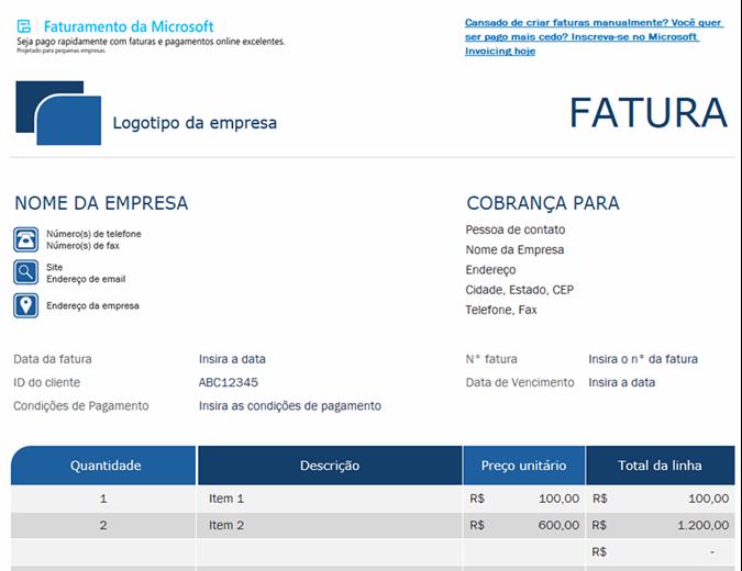Fatura padrão com o Microsoft Invoicing