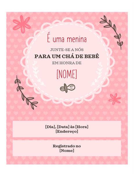 Convite para chá de bebê: menina