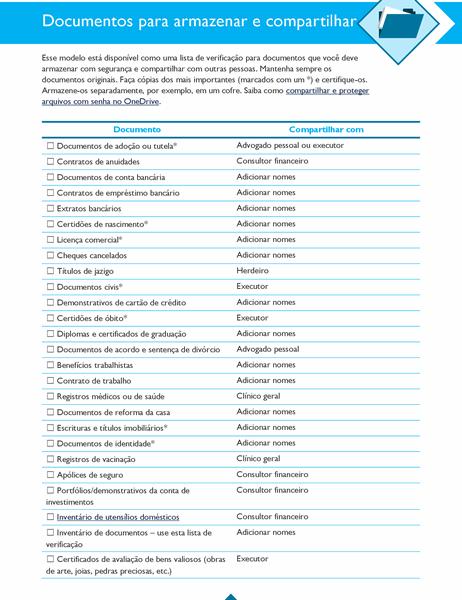 Lista de verificação de documentos a armazenar e compartilhar