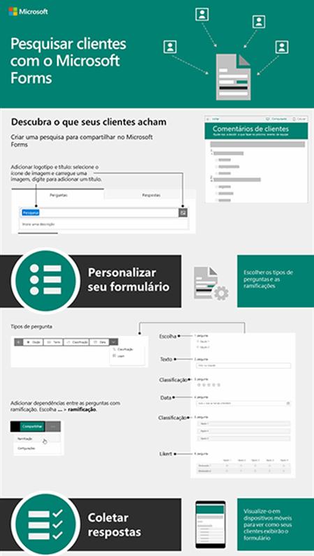 Realize pesquisas com os clientes com o Microsoft Forms